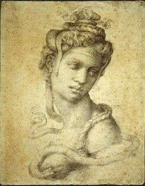 Disegno di Cleopatra di Michelangelo Buonarroti, Casa Buonarroti a Firenze
