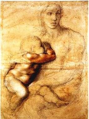 Disegno della Madonna col Bambino di Michelangelo Buonarroti conservato nel Museo Casa Buonarroti a Firenze