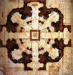 Disegno della Pianta per la chiesa di San Giovanni dei Fiorentini di Michelangelo Buonarroti
