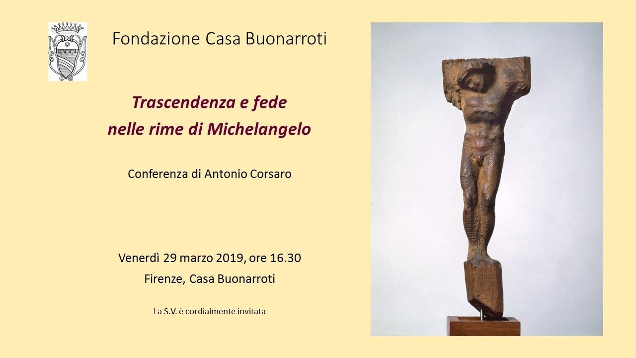 Trascendenza e fede nelle rime di Michelangelo - Conferenza di Antonio Corsaro